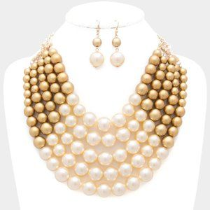 Gold & Cream Chunky Multistrand Pearl Bib Necklace